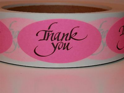 Thank You 1x2 Oval Stickers Labels Pink Fluorescent Bkgd 250rl