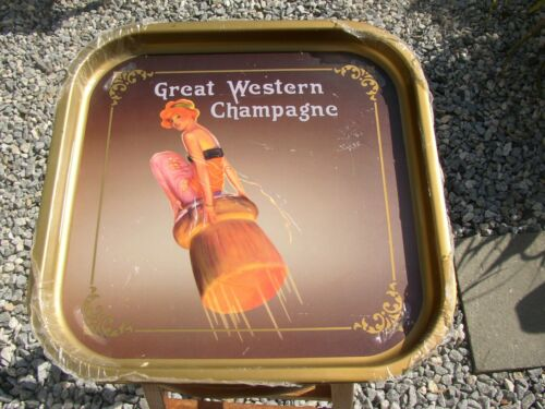 Great Western Champagne vintage Tray, metal