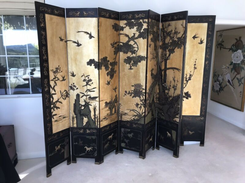 19Th Century Quality Asian Two Sided Screen 8 Panels Make Offer!
