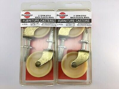 Vintage Faultless Furniture Casters 2 Wheels New Old Stock 4 Pack Usa