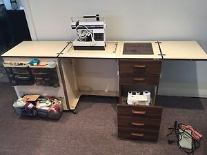 Sewing machine cabinet with sewing machine and over locker Burrill Lake Shoalhaven Area Preview