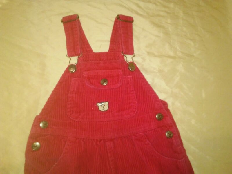 Vintage Arizona Red Corduroy Overalls Bibs 3t