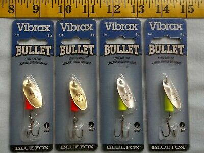 Blue Fox  Vibrax  Bullet Spinners   Size #2   1/4oz.  Lot of 4  New