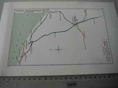NORTH WALSHAM WORSTEAD MUNDESLEY FELMINGHAM CROMER WEST RUNTON RAILWAY MAP 1928