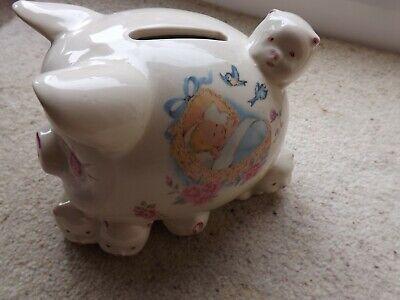 Vintage china piggy bank piglets  floral baby boy Christening ()