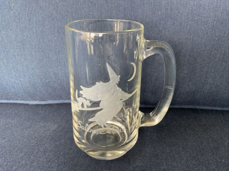 VINTAGE Clear Glass Mug With Etched Halloween Witch On Broom Salem, Mass