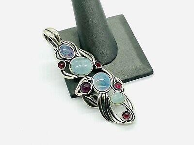 Carolyn Pollack Sterling Silver Opal Doublet Garnet Large Pendant Enhancer