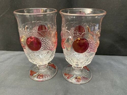 """Westmoreland """"DELLA ROBBIA"""" Flashed ~ Set of 2 ~ Iced Tea Goblets ~ 6"""" Tall"""
