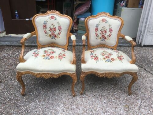 Pair Louis XV style carved oak Style and needlepoint Flower armchair