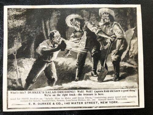 1897 DURKEE Salad Dressing Vtg Art Print Ad~CAPTAIN KIDD Pirates Hunt Treasure!