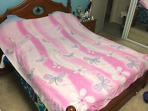 Double Bed Quilt Cover - Dragonfly & Flower Print Brassall Ipswich City Preview