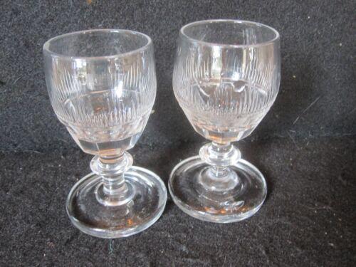 PR (2) ANTIQUE REGENCY GEORGIAN ANGLO IRISH GLASS BLOWN CUT RUMMERS PORT WINE