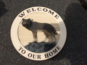 Beautiful carved welcome sign