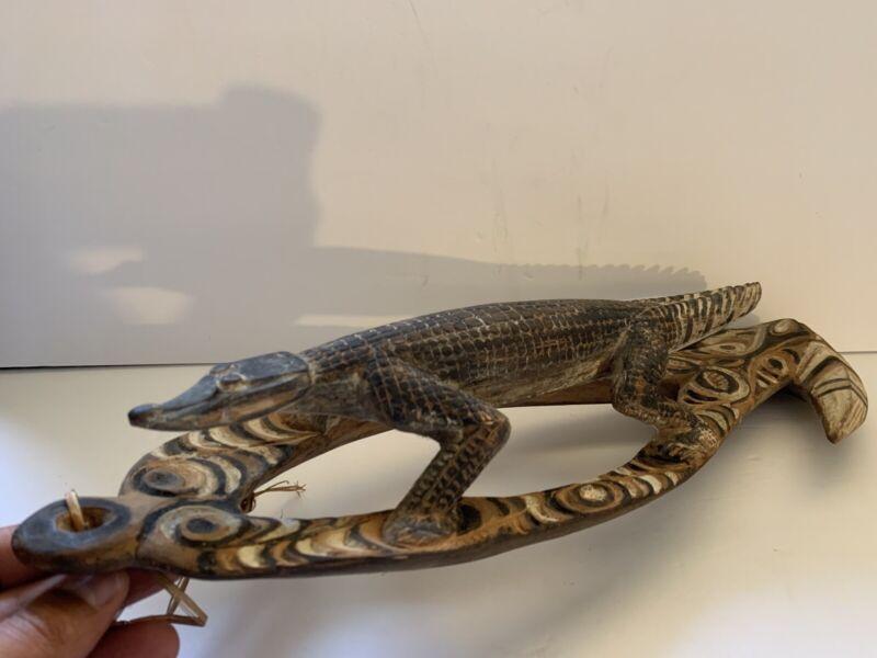 Unique Hand Carved Wooden Alligator Crocodile African Art Sculpture Figure VTG