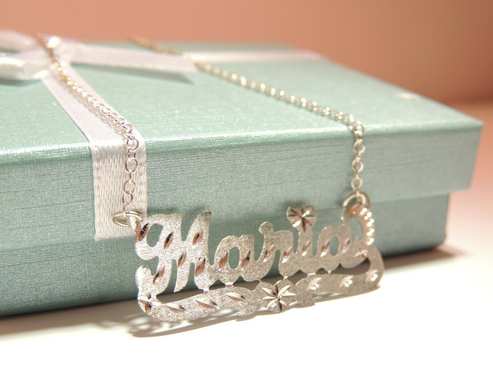 personalized single name plate necklace in sterling