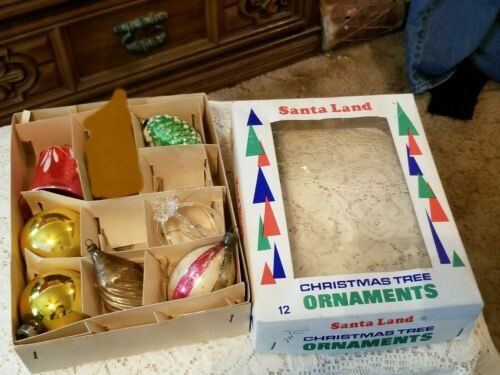 Lot of 7 Blown Glass Christmas Ornaments Most Antique Some VTG in Santa Land Box