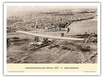"""Consolidated Commodore """"Clipper"""" Havana 1929 Vintage Aviation Art Poster Print"""