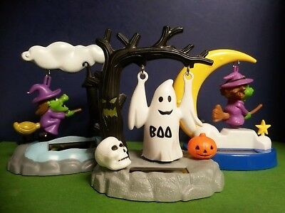 HALLOWEEN FLYING WITCHES & SWINGING GHOST SOLAR ANIMATED FIGURINES--Set of 3!