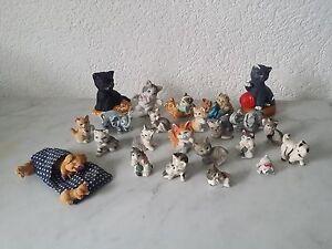 Konvolut Katzen Elefanten Schweine Hund Porzellan Keramik Nippes Setzkasten