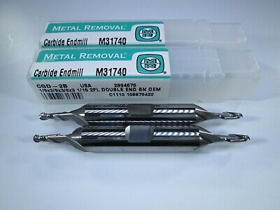 Lot 2 Pcs Usa Carbide Double End Mills 18 X 38 X 3-116 Ballnose Tools