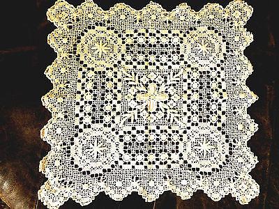 Wertvolles Deckchen festliches Tischzentrum 40x40 aufwändige Guipure-Handarbeit
