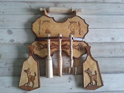 USSR Russia Kitchen set on the insane Wooden utensils rolling pin Handmade New 70s