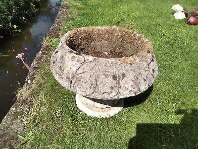 Old Weathered Vintage Stone Tulip Urn Garden Planter on Stand