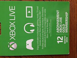 12 Month Xbox Live Gold Membership $50