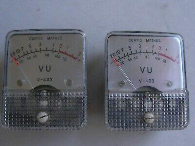 2 Vintage 1960s matchingCurtis MathesVU V-403 Panel Meters analog audio meter