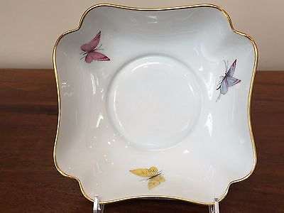 Limoges France Scalloped BUTTERFLY Porcelain Square Bowl Butterfly Square Bowl