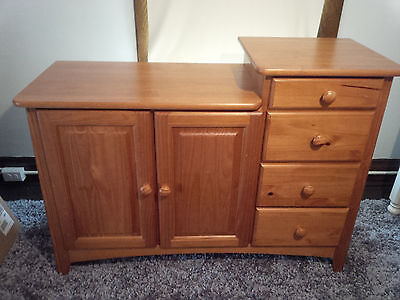 * Baby Changing Table Dresser Solid Oak Wood Diaper Station Nursery Furniture