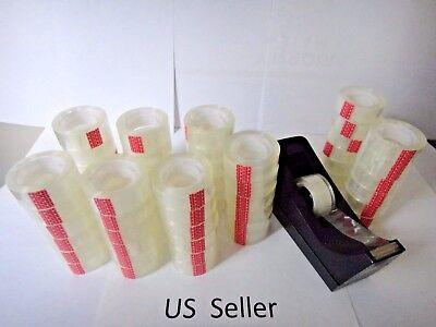 12 Rolls Crystal Clear Transparent Tape Dispenser Refills 34 X 1000 Us Seller