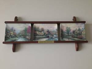 Thomas Kinkade 3 Lamplight Village plates with wall rack Bundall Gold Coast City Preview