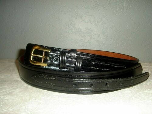 NWOT  Don Hume B112 Black Leather Brass Buckle Belt 38