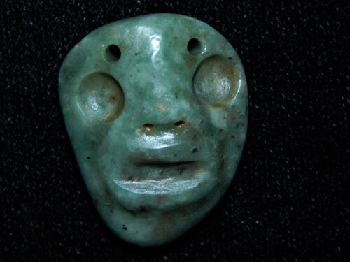Pre-Columbian Authentic Carved Blue Green Jade, Rare Pendant, Jade Maskette