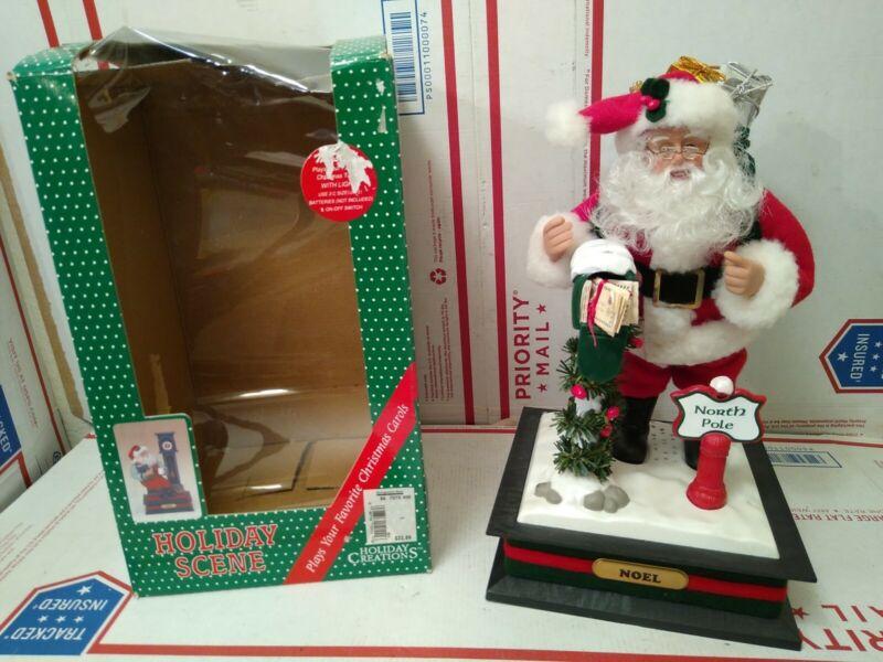 Holiday Creations Musical Santa Light Checking His Mailbox Box Christmas