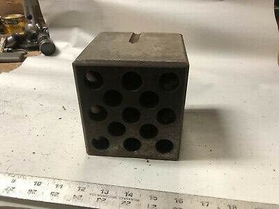 MACHINIST TOOLS LATHE MILL Large Set Up Block Fixture with Holes on 4 Sides OfCe