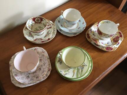 Assorted tea cups, saucers and plates