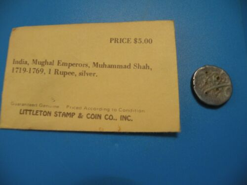 India Mughal Muhammad Shah 1719-1769 1 Rupee silver Littleton Stamp Coin C5