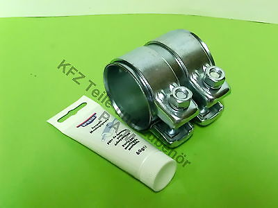 Exhaust clamp 53-2 3-8x3in Double Pipe coupling with Assembly paste 60 size