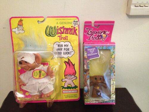 VINTAGE 1991 UNEEDA WISHNIK NURSE & ACE TREASURE TROLL LOT IN ORIGINAL PACKAGES
