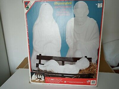 """General Foam 3 PC Vtg 27"""" Marble Nativity Lighted Blow Mold Set Jesus Mary"""