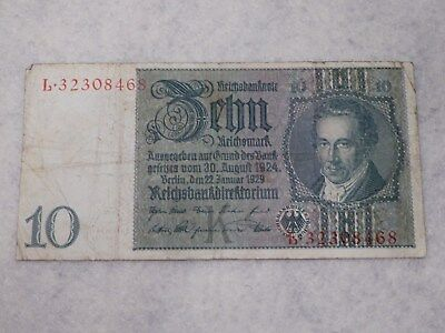 Originale Reichsbanknote 10 Reichsmark, L 32308468