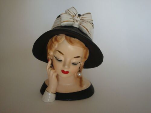 """Vintage SHAFFORD? Lady Headvase - Big Hat and Bow - 6"""" Tall - NICE!"""