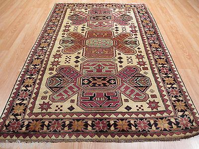 4x6 Super Kazak Tribal Geometric Vegetable Dye Handmade Knotted Wool RUG 580630
