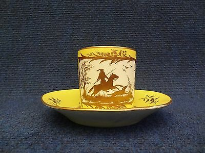 Arras Porcelain Cup   Saucer Yellow Ground And Gilded Decoration Hunting Panels