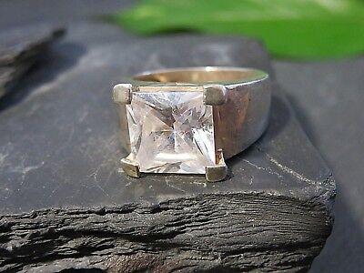 Großer 925 Silber Ring Breit Brutalist Statement Zirkonia Solitär Elegant Edel