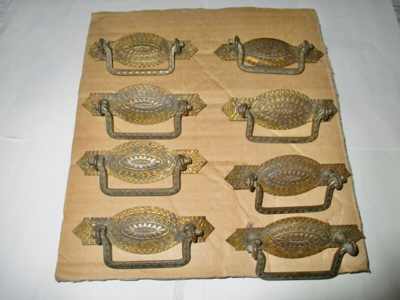 VTG VICTORIAN ORNATE SET OF 8 STAMPED BRASS REPLACEMENT DRAWER HANDLES