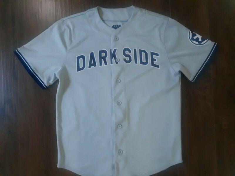 Star Wars Dark Side #77 Baseball Jersey Gray Button Up Mens Small Darth Vader