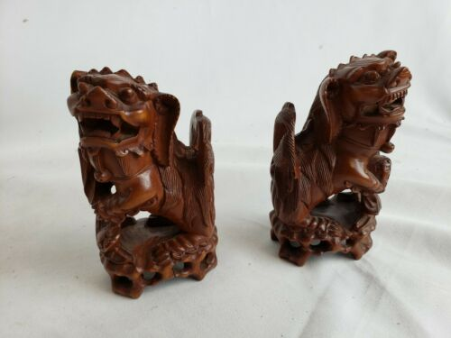 Beautiful pair of antique /vintage carved wood dogs, 4""